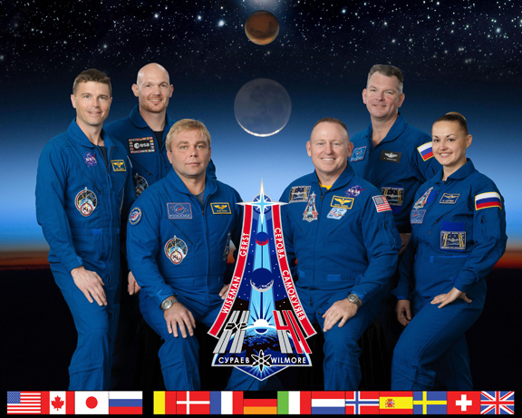 The astronauts who will be on the ISS during the Gilroy Lab BRIC-19 experiment.