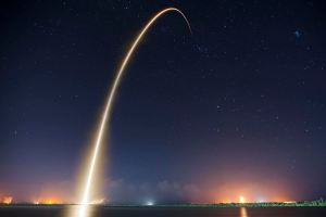 SpaceX's CRS-4 launch as viewed in a time lapse photo taken on the NASA causeway. Image by SpaceX.