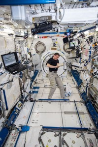 Reid Weisman handling our BRIC-19 experiment. He is working in the Columbus module, where many experiments are conducted.