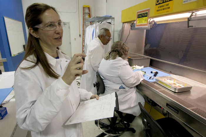 Sarah Swanson and the NASA team at Kennedy Space Center unpack samples from the petri dish holders. Photo by Sandy Swanson.